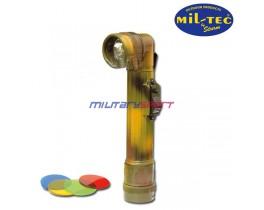 Mil-Tec Г-образный фонарь (woodland) со сменными стёклами (длина 16см,диаметр линзы 2,9см) 36107